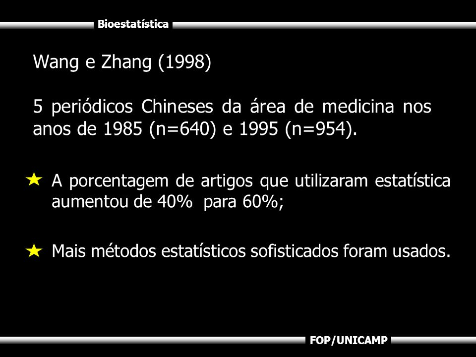 Wang e Zhang (1998) 5 periódicos Chineses da área de medicina nos anos de 1985 (n=640) e 1995 (n=954).