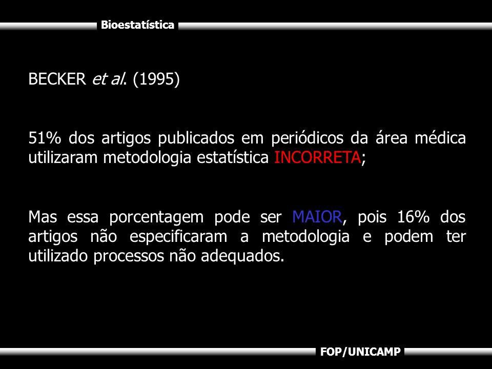 BECKER et al. (1995)51% dos artigos publicados em periódicos da área médica utilizaram metodologia estatística INCORRETA;