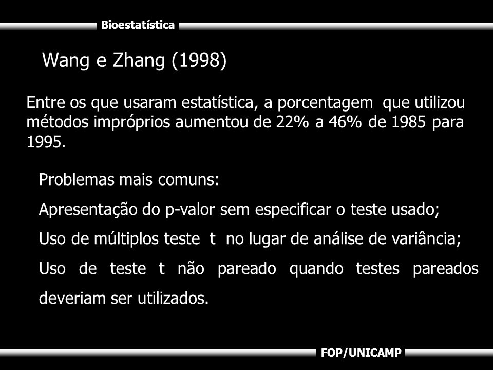 Wang e Zhang (1998) Entre os que usaram estatística, a porcentagem que utilizou métodos impróprios aumentou de 22% a 46% de 1985 para 1995.