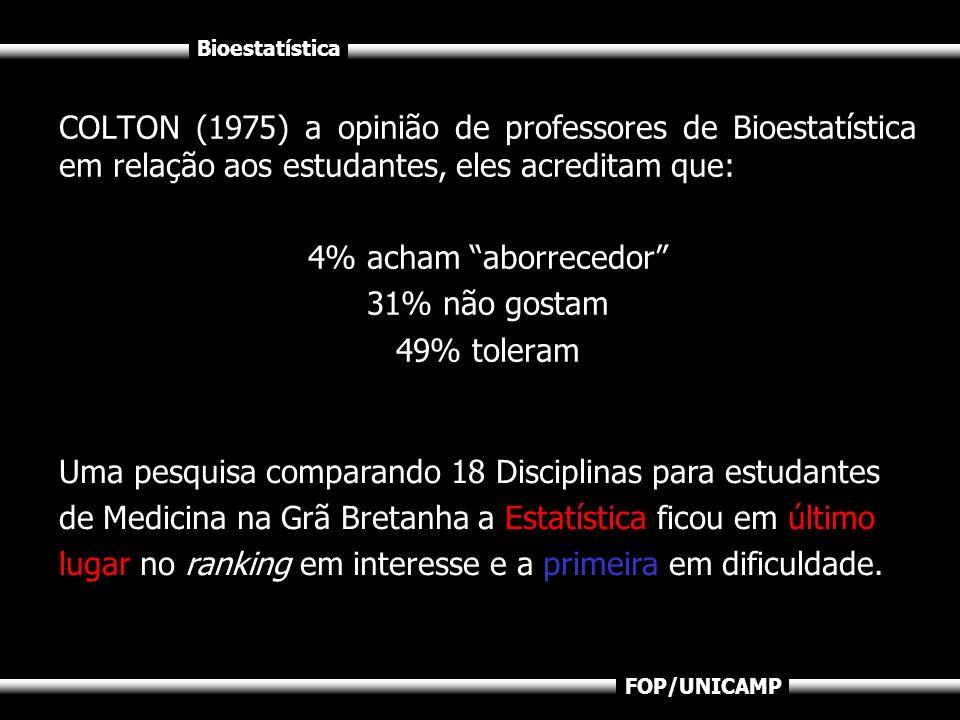COLTON (1975) a opinião de professores de Bioestatística em relação aos estudantes, eles acreditam que: