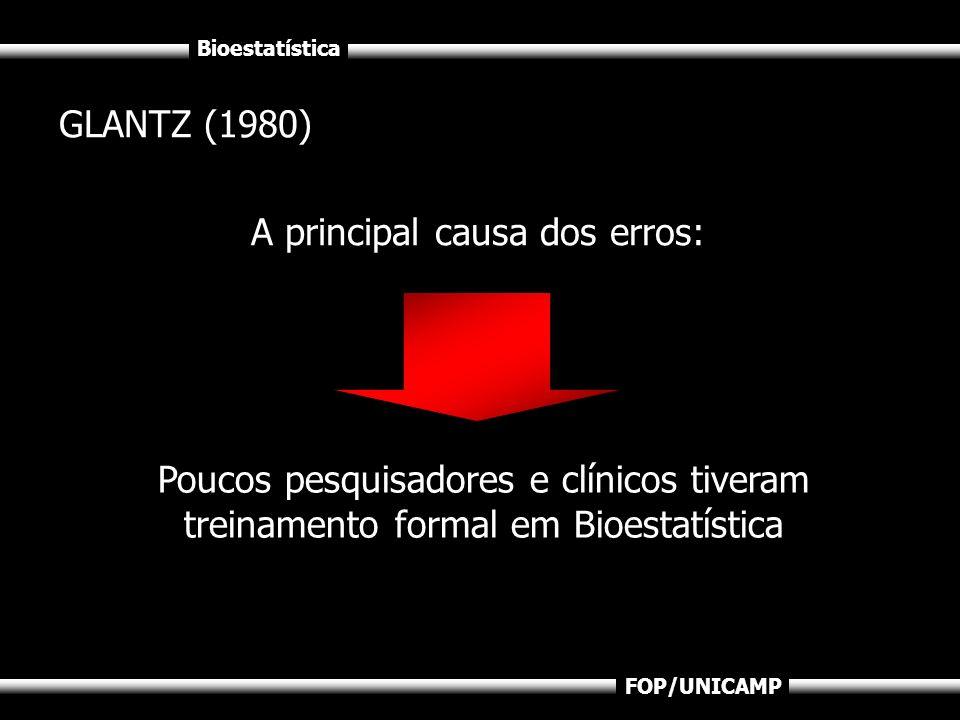 GLANTZ (1980)A principal causa dos erros: Poucos pesquisadores e clínicos tiveram treinamento formal em Bioestatística.