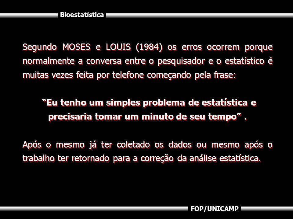 Segundo MOSES e LOUIS (1984) os erros ocorrem porque normalmente a conversa entre o pesquisador e o estatístico é muitas vezes feita por telefone começando pela frase:
