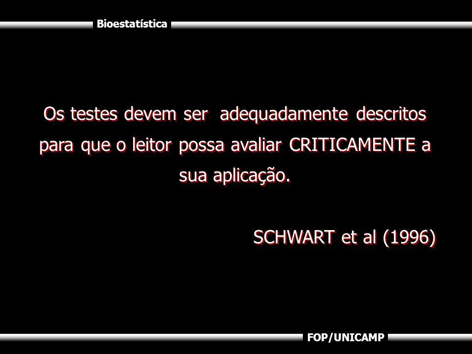 Os testes devem ser adequadamente descritos para que o leitor possa avaliar CRITICAMENTE a sua aplicação.