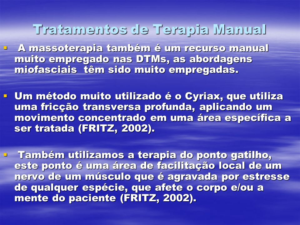 Tratamentos de Terapia Manual