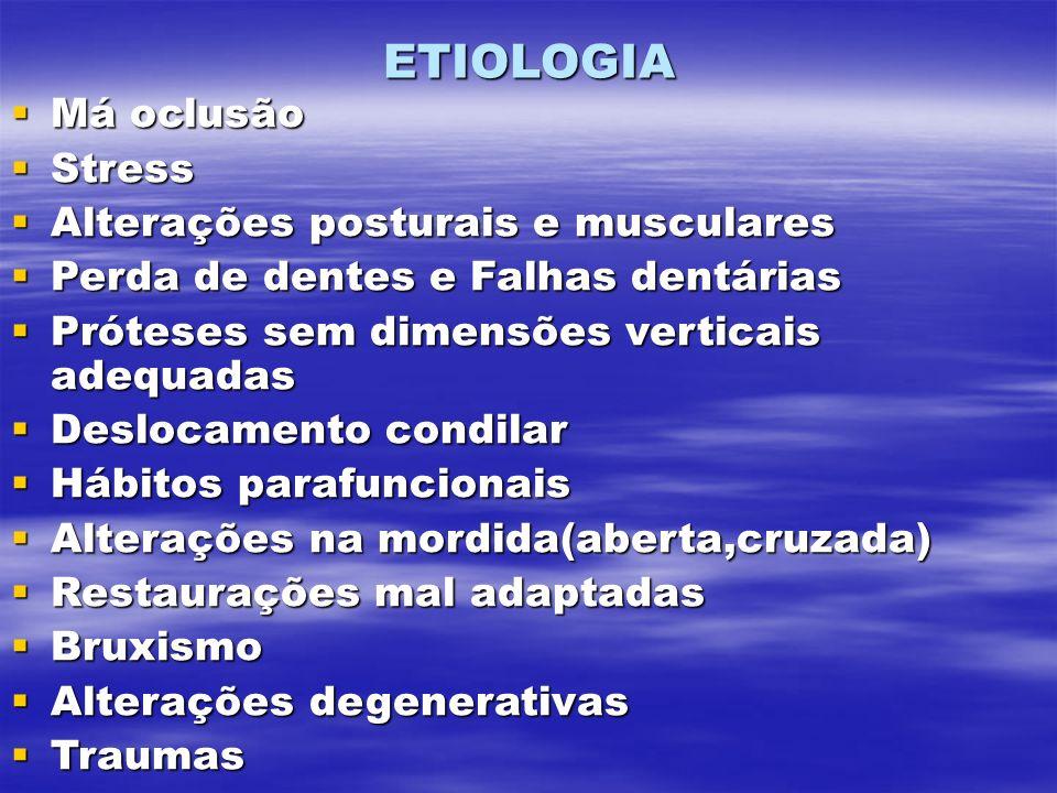 ETIOLOGIA Má oclusão Stress Alterações posturais e musculares