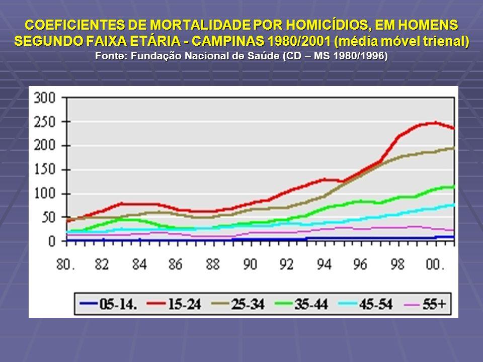 COEFICIENTES DE MORTALIDADE POR HOMICÍDIOS, EM HOMENS SEGUNDO FAIXA ETÁRIA - CAMPINAS 1980/2001 (média móvel trienal) Fonte: Fundação Nacional de Saúde (CD – MS 1980/1996)