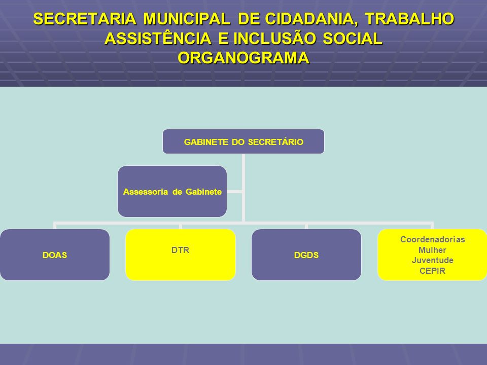 SECRETARIA MUNICIPAL DE CIDADANIA, TRABALHO ASSISTÊNCIA E INCLUSÃO SOCIAL ORGANOGRAMA