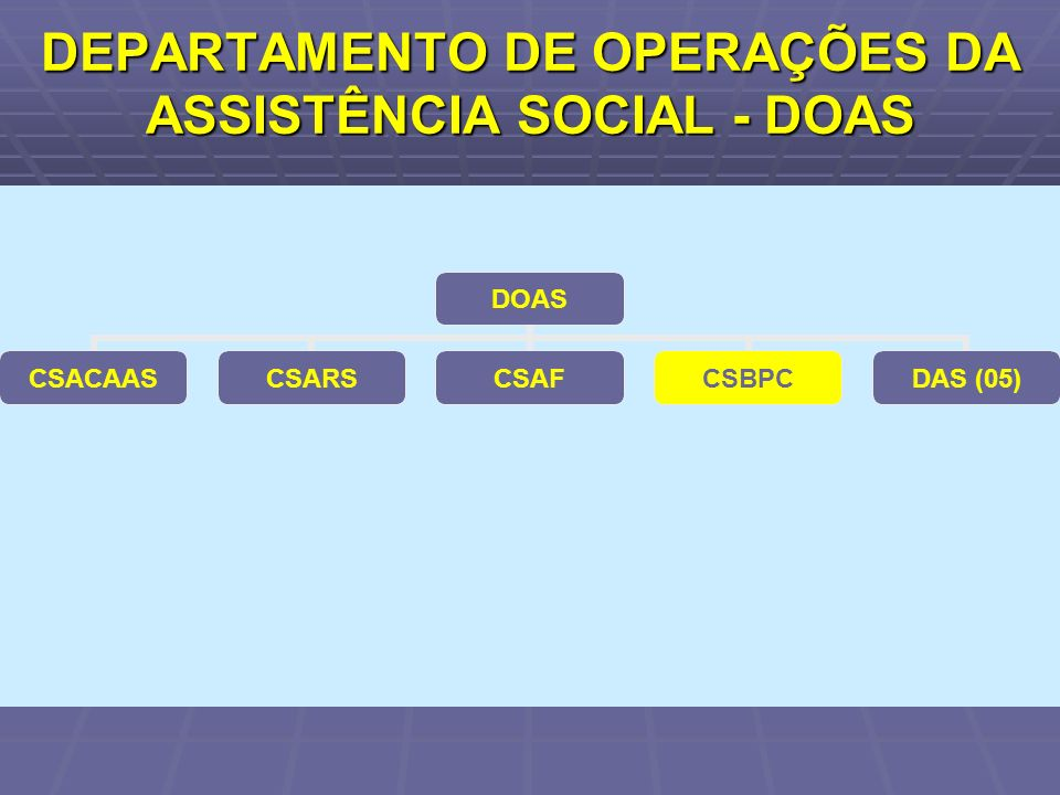DEPARTAMENTO DE OPERAÇÕES DA ASSISTÊNCIA SOCIAL - DOAS