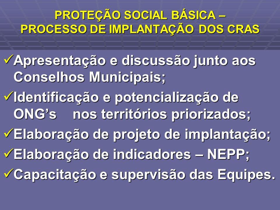 PROTEÇÃO SOCIAL BÁSICA – PROCESSO DE IMPLANTAÇÃO DOS CRAS