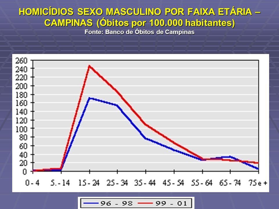HOMICÍDIOS SEXO MASCULINO POR FAIXA ETÁRIA – CAMPINAS (Óbitos por 100
