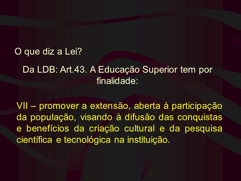 Da LDB: Art.43. A Educação Superior tem por finalidade: