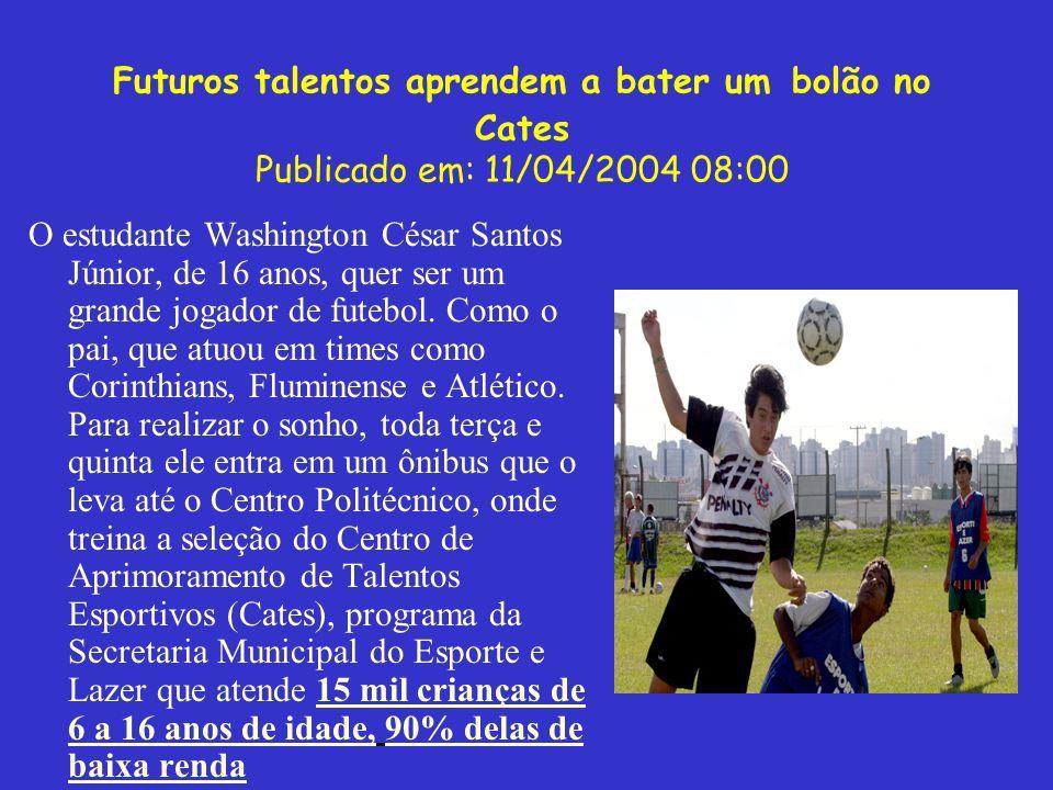 Futuros talentos aprendem a bater um bolão no Cates Publicado em: 11/04/2004 08:00