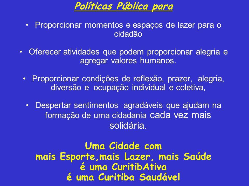 mais Esporte,mais Lazer, mais Saúde é uma Curitiba Saudável