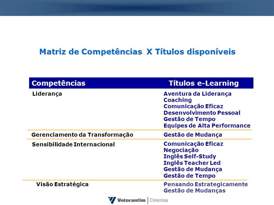 Matriz de Competências X Títulos disponíveis