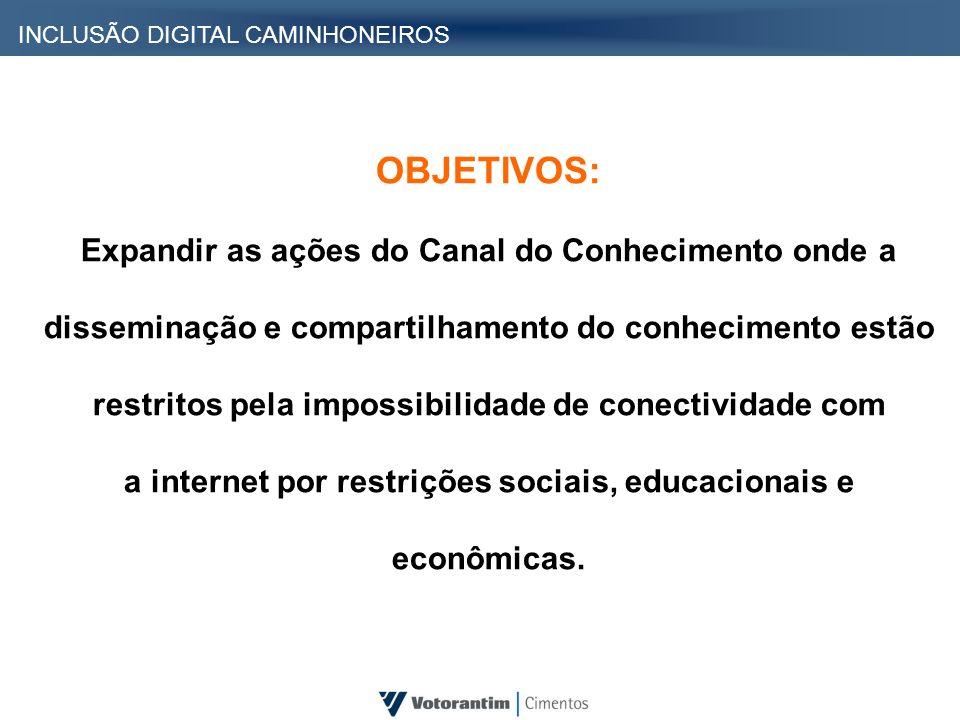 OBJETIVOS: Expandir as ações do Canal do Conhecimento onde a