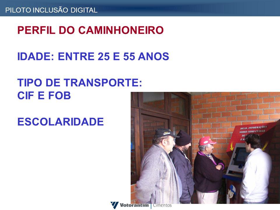 PERFIL DO CAMINHONEIRO IDADE: ENTRE 25 E 55 ANOS TIPO DE TRANSPORTE: