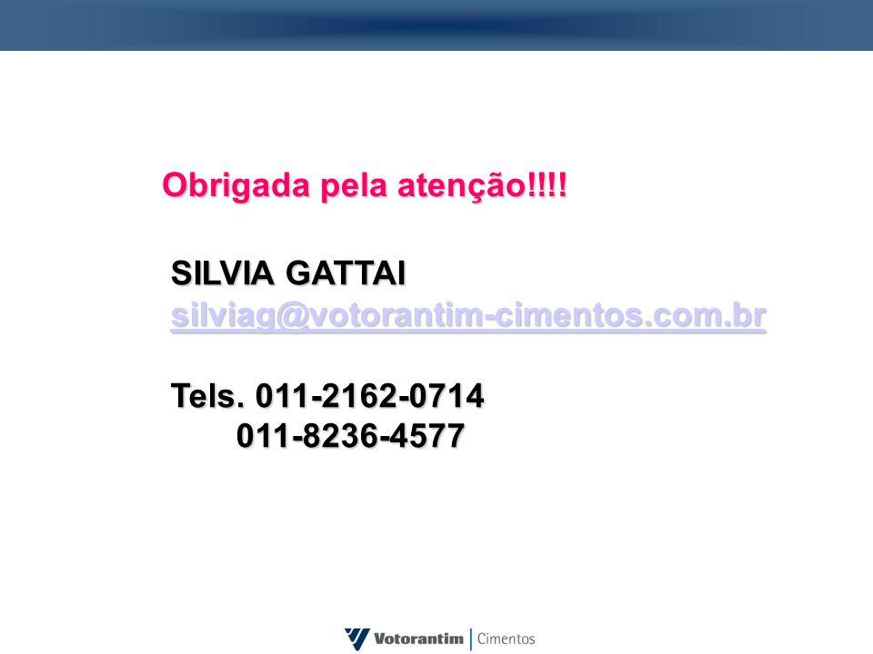 Obrigada pela atenção!!!! SILVIA GATTAI. silviag@votorantim-cimentos.com.br. Tels. 011-2162-0714.