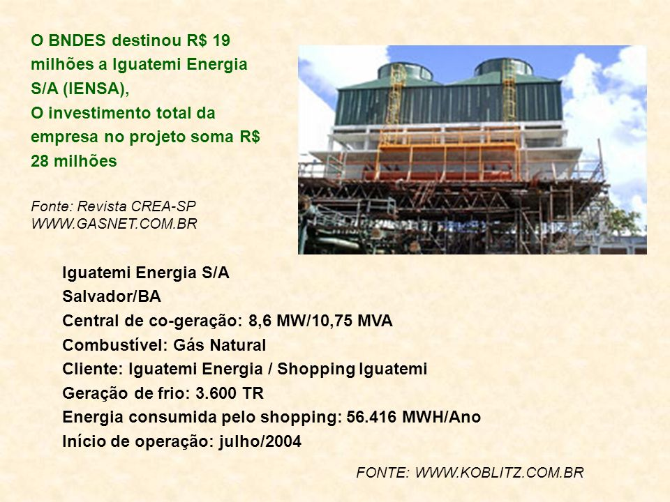 O BNDES destinou R$ 19 milhões a Iguatemi Energia S/A (IENSA),