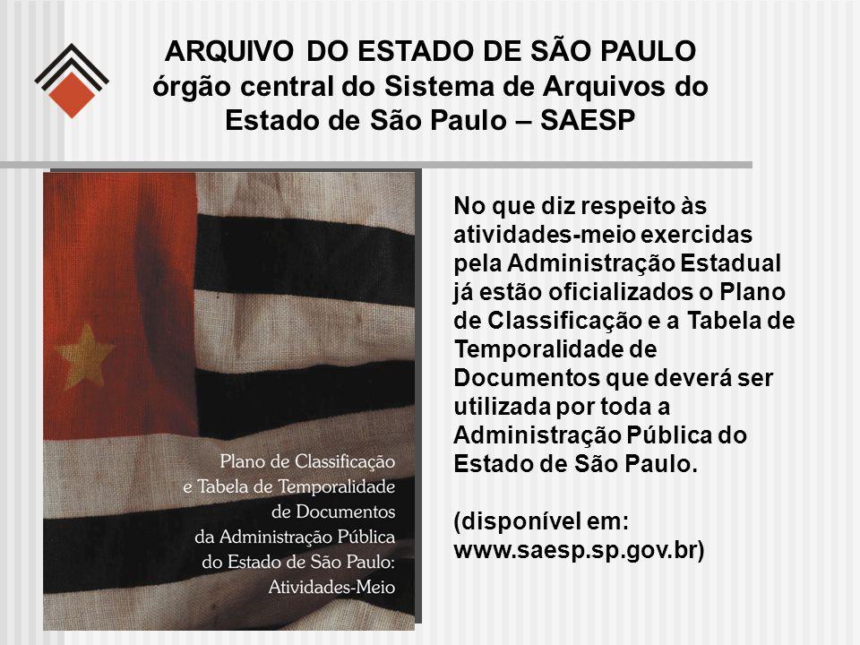 ARQUIVO DO ESTADO DE SÃO PAULO órgão central do Sistema de Arquivos do