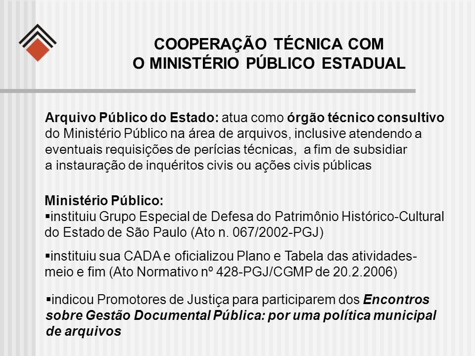 COOPERAÇÃO TÉCNICA COM O MINISTÉRIO PÚBLICO ESTADUAL