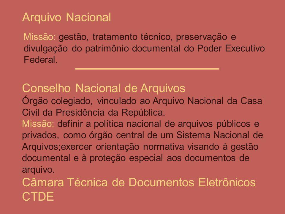 Arquivo Nacional Missão: gestão, tratamento técnico, preservação e divulgação do patrimônio documental do Poder Executivo Federal.
