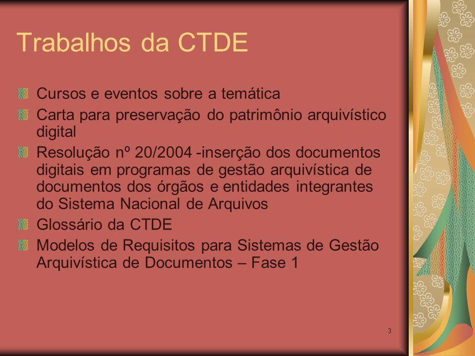 Trabalhos da CTDE Cursos e eventos sobre a temática