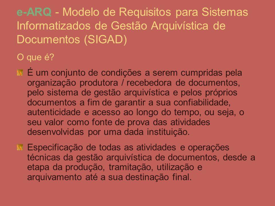 e-ARQ - Modelo de Requisitos para Sistemas Informatizados de Gestão Arquivística de Documentos (SIGAD)
