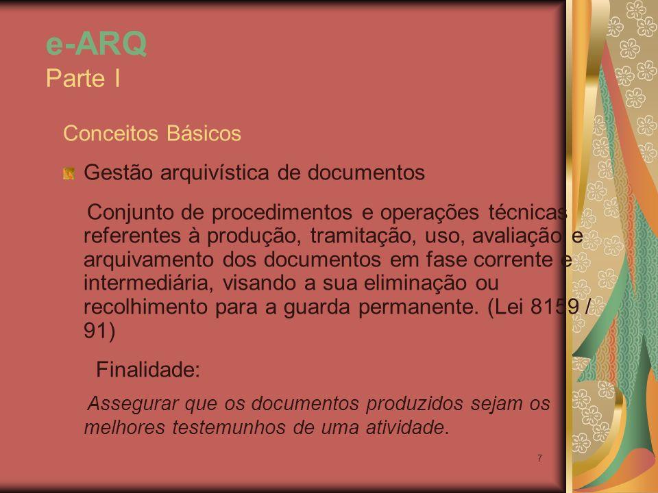 e-ARQ Parte I Conceitos Básicos. Gestão arquivística de documentos.