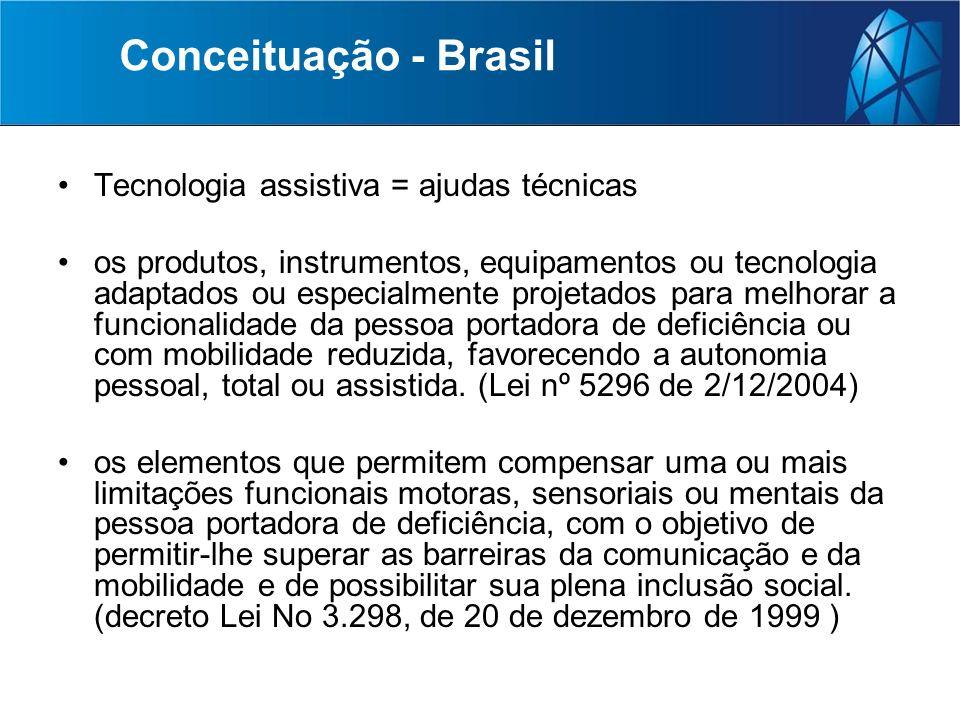 Conceituação - Brasil Tecnologia assistiva = ajudas técnicas