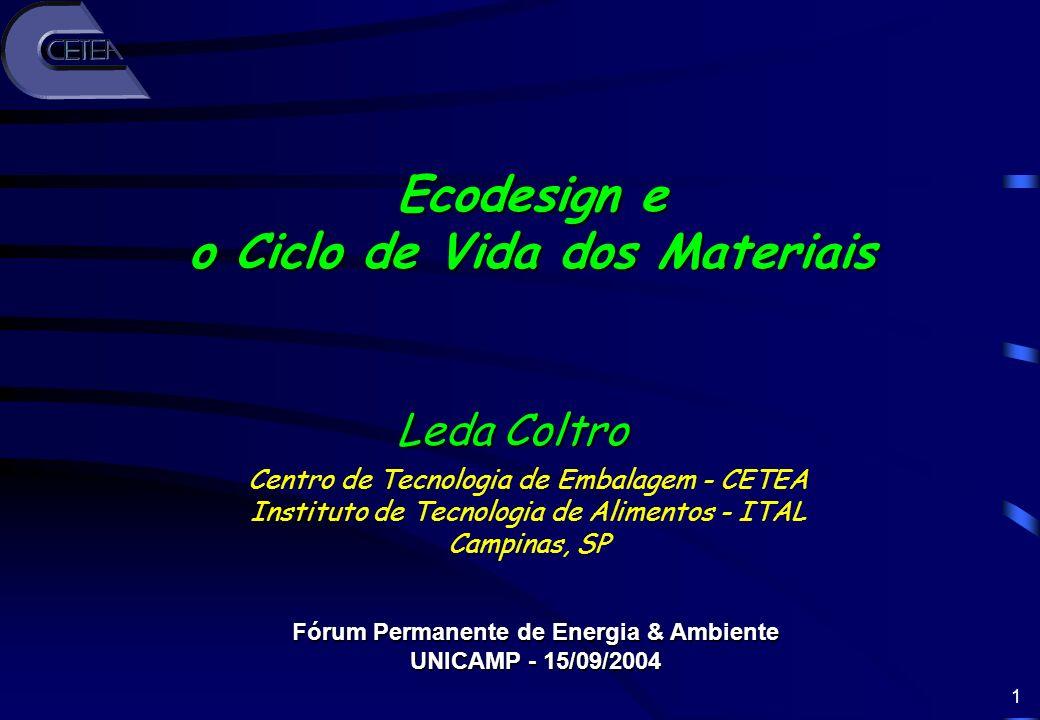 o Ciclo de Vida dos Materiais Fórum Permanente de Energia & Ambiente