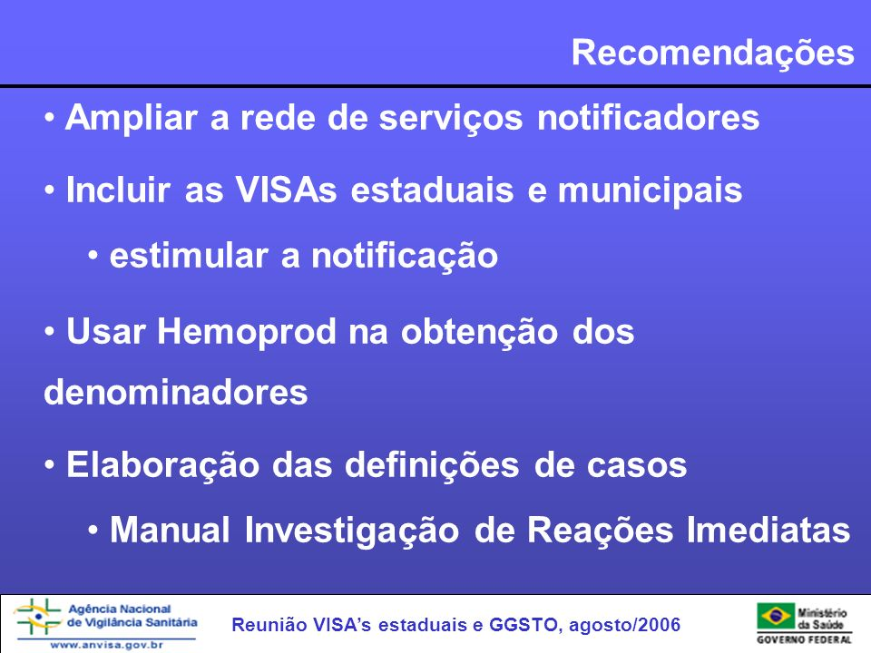 Recomendações Ampliar a rede de serviços notificadores. Incluir as VISAs estaduais e municipais. estimular a notificação.