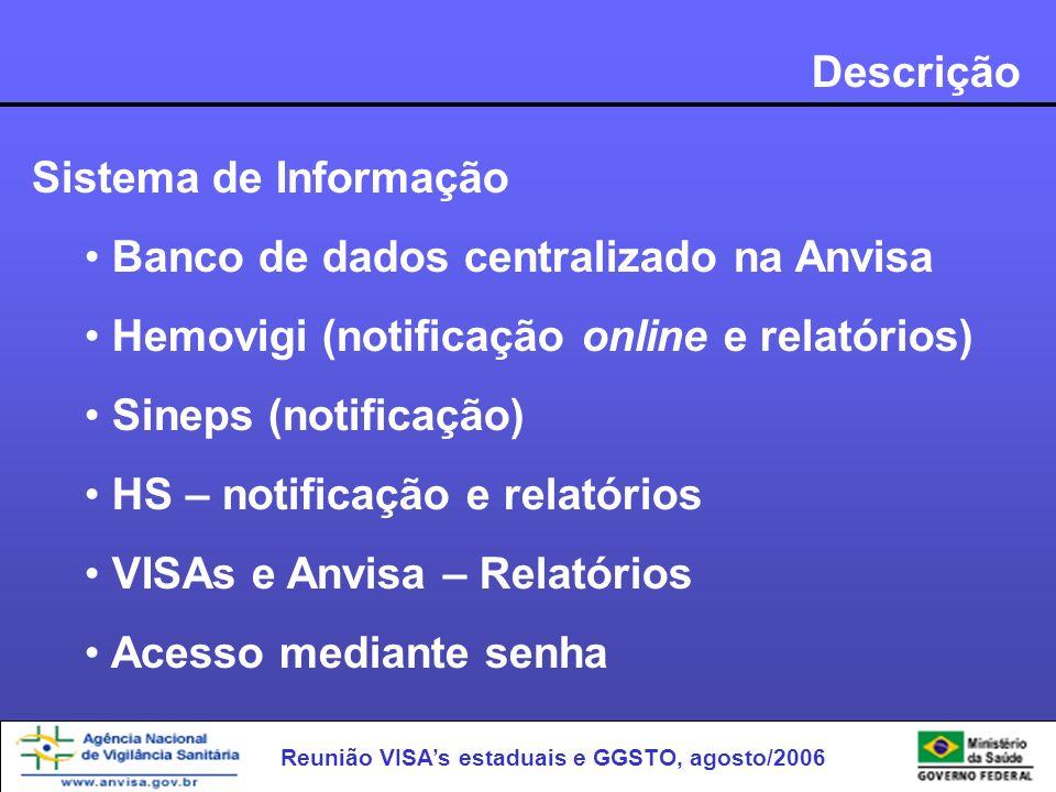 Descrição Sistema de Informação. Banco de dados centralizado na Anvisa. Hemovigi (notificação online e relatórios)