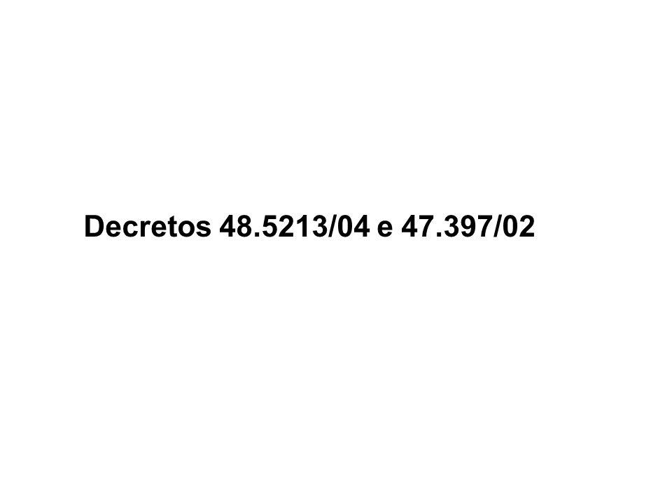 Decretos 48.5213/04 e 47.397/02