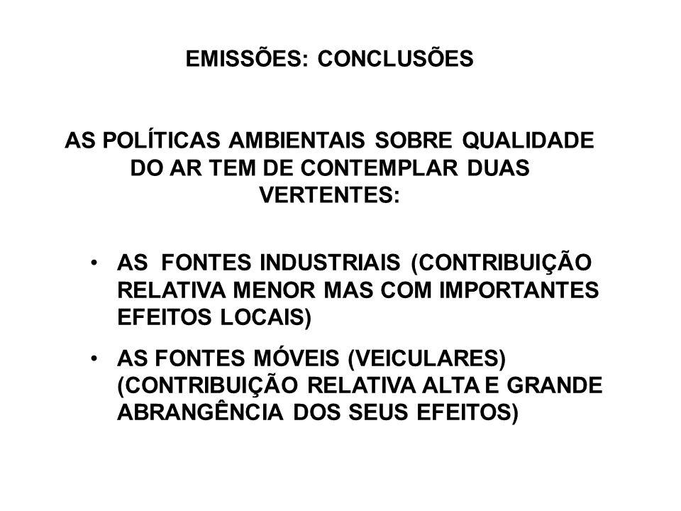EMISSÕES: CONCLUSÕES AS POLÍTICAS AMBIENTAIS SOBRE QUALIDADE DO AR TEM DE CONTEMPLAR DUAS VERTENTES: