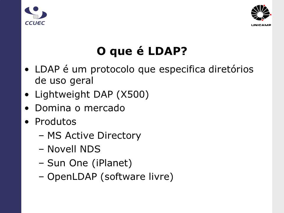 O que é LDAP LDAP é um protocolo que especifica diretórios de uso geral. Lightweight DAP (X500) Domina o mercado.