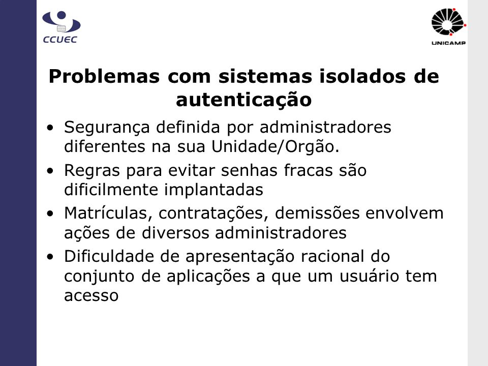 Problemas com sistemas isolados de autenticação