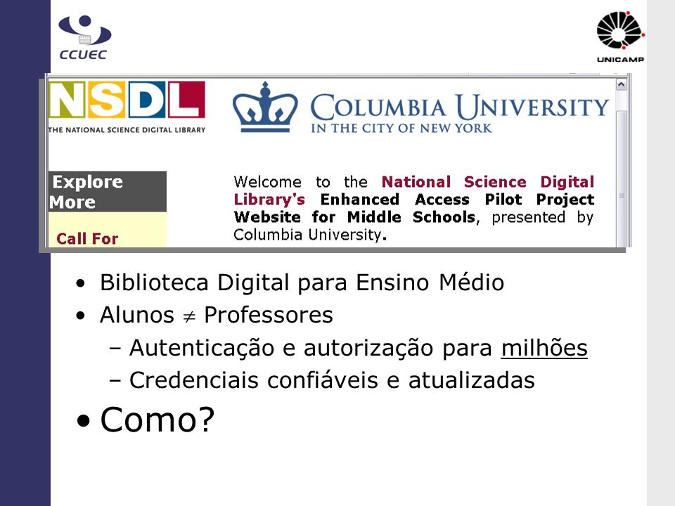 Como NSDL Biblioteca Digital para Ensino Médio Alunos  Professores