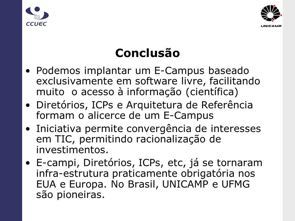 ConclusãoPodemos implantar um E-Campus baseado exclusivamente em software livre, facilitando muito o acesso à informação (científica)