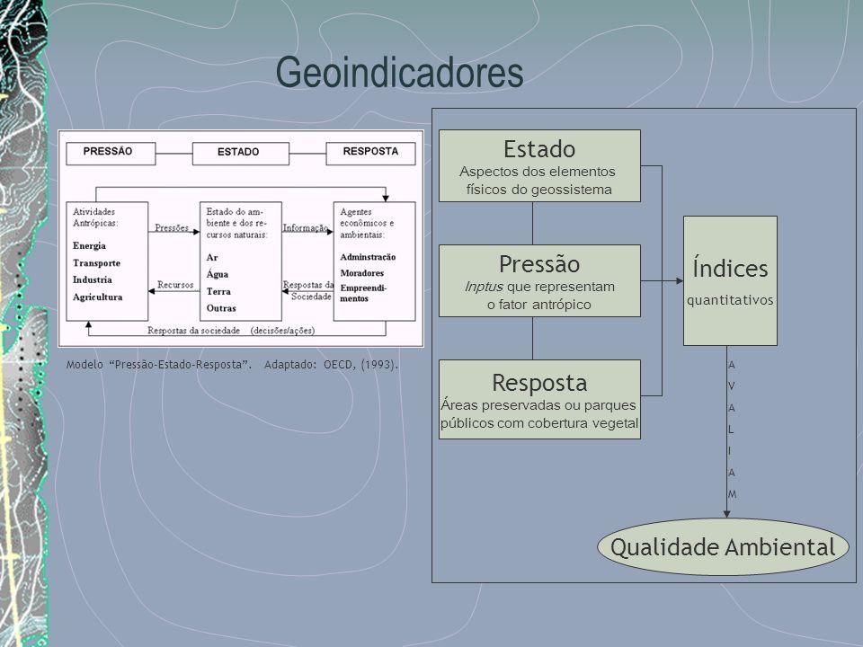 Geoindicadores Estado Índices Pressão Resposta Qualidade Ambiental
