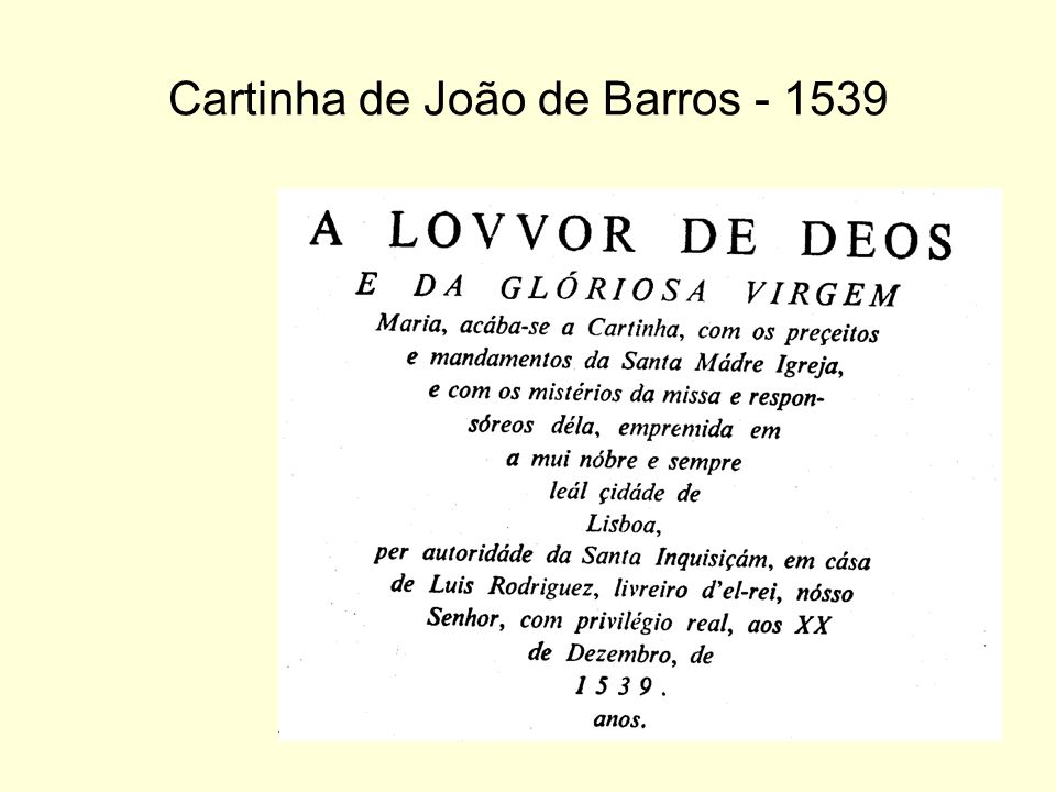 Cartinha de João de Barros - 1539