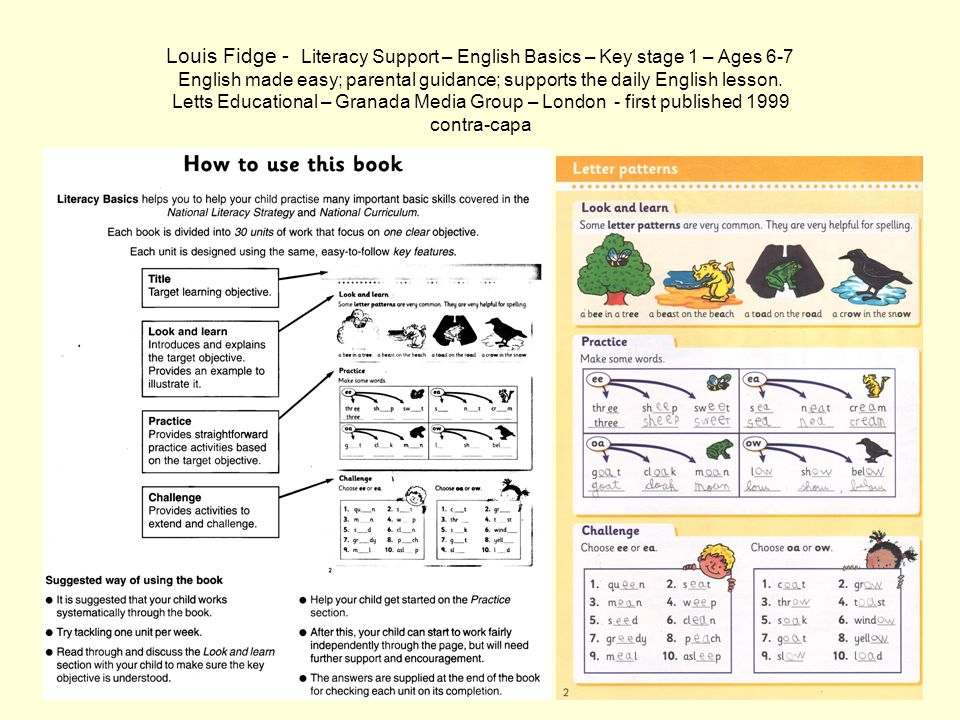 Louis Fidge - Literacy Support – English Basics – Key stage 1 – Ages 6-7 English made easy; parental guidance; supports the daily English lesson.