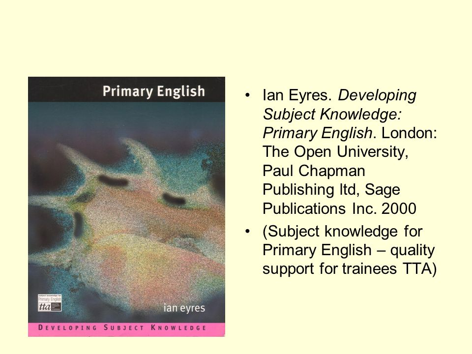 Ian Eyres. Developing Subject Knowledge: Primary English