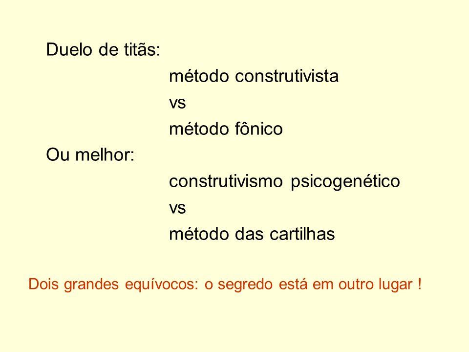 método construtivista vs método fônico Ou melhor: