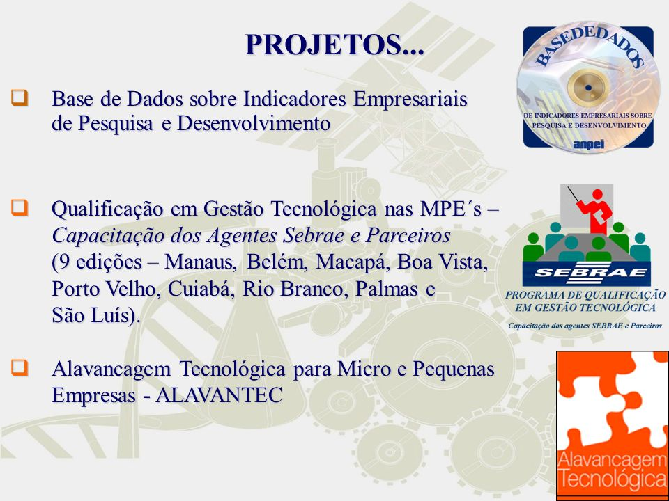 PROJETOS... Base de Dados sobre Indicadores Empresariais de Pesquisa e Desenvolvimento.