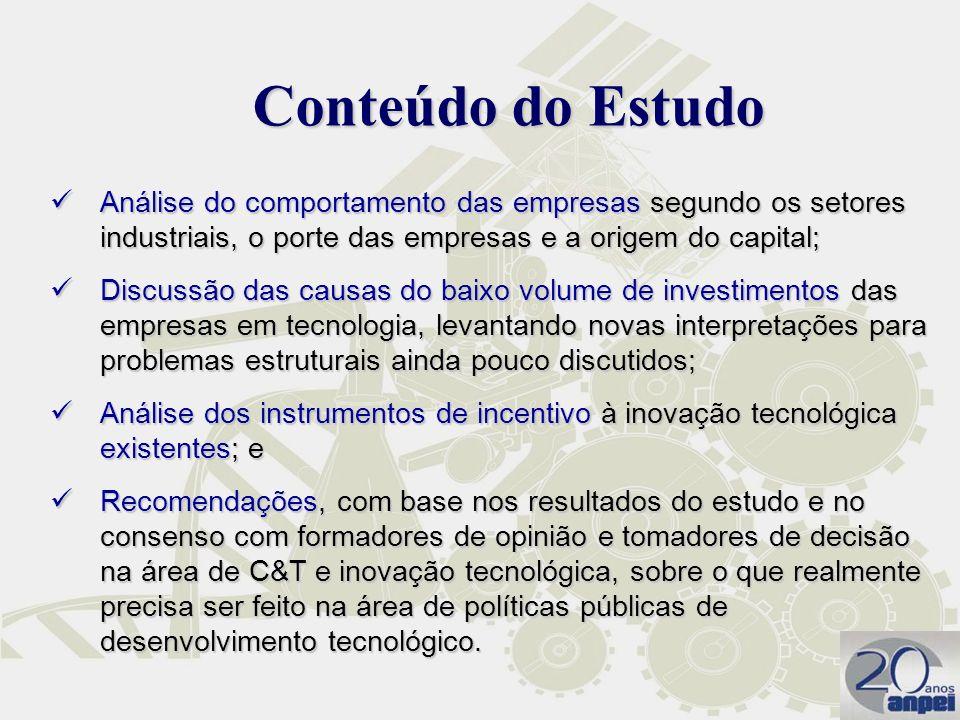 Conteúdo do Estudo Análise do comportamento das empresas segundo os setores industriais, o porte das empresas e a origem do capital;