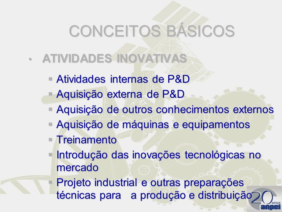 CONCEITOS BÁSICOS Atividades internas de P&D Aquisição externa de P&D