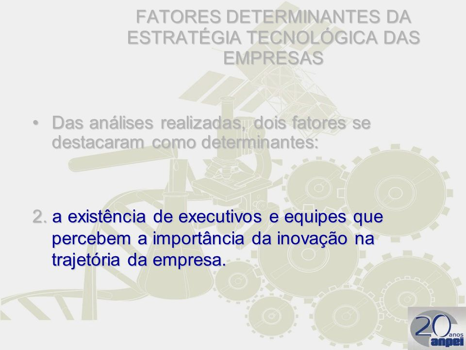 FATORES DETERMINANTES DA ESTRATÉGIA TECNOLÓGICA DAS EMPRESAS