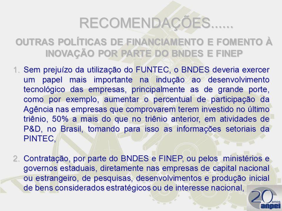RECOMENDAÇÕES...... OUTRAS POLÍTICAS DE FINANCIAMENTO E FOMENTO À INOVAÇÃO POR PARTE DO BNDES E FINEP.