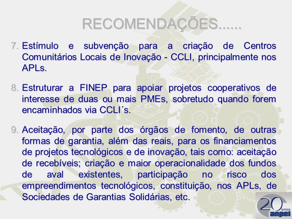 RECOMENDAÇÕES...... Estímulo e subvenção para a criação de Centros Comunitários Locais de Inovação - CCLI, principalmente nos APLs.