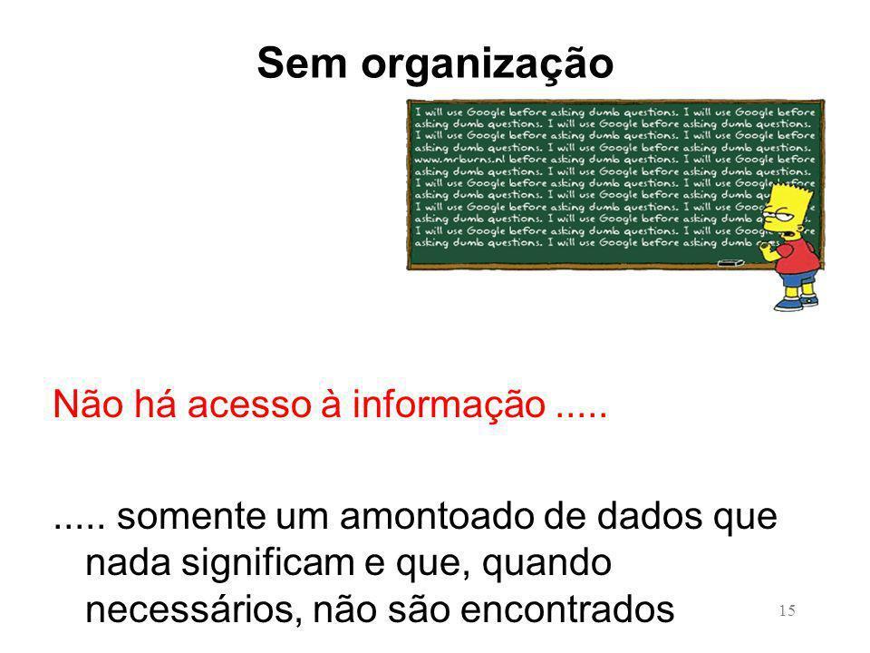 Sem organização Não há acesso à informação .....